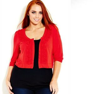 City Chic Red Jersey-Like Cardigan w/Flower Detail
